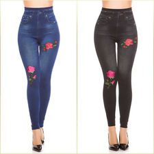Denim look leggings with pretty flower patch Warm Lined Stretch Material Jegging