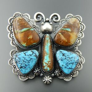 AMAZING HANDCRAFTED STERLING SILVER TURQUOISE LARGE BUTTERFLY SLIDE PENDANT