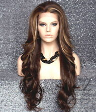 Heat OK French Full Lace Front WIG Long Wavy Brown Blonde Mix Hair WBKM 8-27-613