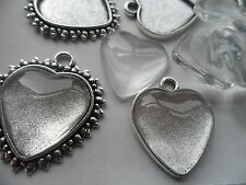 10 mixed 20mm Heart Pendant/keyring making kits 5 of each Ant. Silver  10 glass