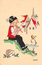 CPA -Cartes fantaisies - enfant jouant de la flûte à un oiseau en Alsace, dessin