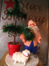 Vintage Twins Feather Tree Co Father Christmas Santa W/Tree & Lamb 1988