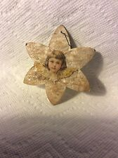 ANTIQUE GERMAN COTTON STAR AND ANGEL CHRISTMAS ORNAMENT