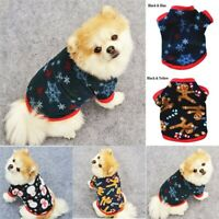 Pet Xmas Dog Jacket Fleece Clothes Costume Warm Snowman Coats Winter Cat Puppy
