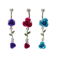 2-Rose Connected Dangling Jewelry Belly Ring Navel Button W2G7