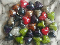 20MM Pearlized Multi Color Handmade Heart Loose Lampwork Glass Beads DIY 10PC.