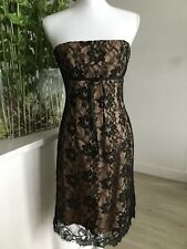 Womens  NICOLE MILLER Black Floral Lace Nude Lining Strapless Dress Size 2