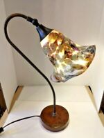 Handmade Contemporary Art Nouveau-Style Reading Lamp with Art Glass Shade 2020