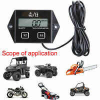 Black Digital Tach Hour Meter Tachometer Gauge For Dirt bike ATV UTV 2/4 stroke