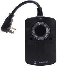 Outdoor Light Sensing Plug-In Timer LED CFL Lights 1000-Watt Rainproof Black