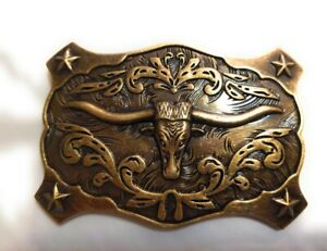 ✖ WESTERN STEER BULL Rope Cowboy Rodeo Style bronze Belt Buckle ✖ Roping USA