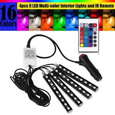 4pcs 9LED Car Interior Atmosphere Neon Lights Strip + Wireless IR Remote Control