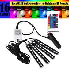 4pcs 9LED Car Interior Atmosphere Neon Lights Strip + Wireless IR Remote Control