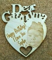 ANY TEXT! Personalised Wooden Heart Gift Birthday Mother's Day Grandma Dad Photo