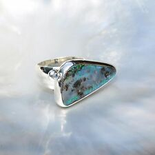 Boulder Opal Ring, 925er Silber, Edelsteinring (21083), mit Mondstein