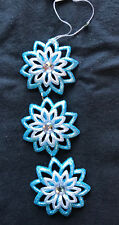 3 x Ice Blue & Silver Snowflakes Christmas Baubles Tree Hangers Decoration 16cm