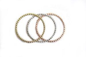 BRAND NEW 10k Yellow White Rose Gold Ball Band Minimalist Beaded Stacking Ring
