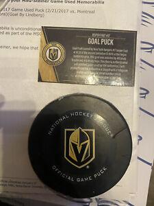 Vegas Golden Knights Goal Puck - Goal by Jesper Fast- New York Rangers - VGK COA