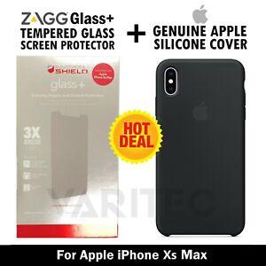 Genuine Apple iPhone XS MAX Silicone Case Cover + Zagg Glass Screen Protector