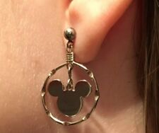 VINTAGE STERLING SILVER MICKEY MOUSE In Circle Loops Earrings DISNEY SIGNED
