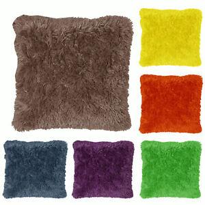 6 Colors Choice Long Hair Faux Fur EUROPEAN Filled Pillow with Cover 70x70cm