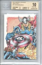 BGS 10 PRISTINE 2011 Marvel Universe SKETCH Dan Borgonos/CAPTAIN AMERICA 1/1 LPG