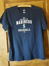 Authentic Majestic T-Shirt Seattle Mariners MLB Girl's Youth XL Silver letters
