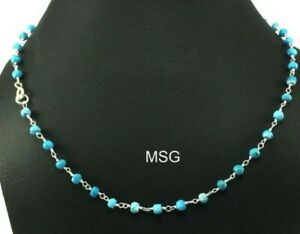 Turquoise Gemstone Wire Wrapped Solid 925 Sterling Silver Beads Necklace SMBN123