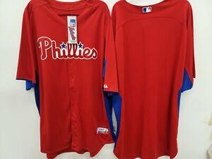 1409-6 Mens Majestic PHILADELPHIA PHILLIES Authentic Baseball JERSEY RED New