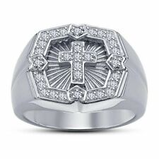 Man Women 925 Silver Band White Topaz Cross Wedding Gift Ring Anniversary Sz6-10