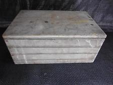 Antique Wood STORAGE BOX Footlocker Wooden Rustic Decor Side Handles Old Vtg