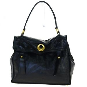 EEUC Yves YSL Rive Gauche Black Leather Suede MUSE TWO Handbag Gold HOT! WOW!