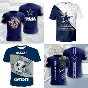 Dallas Cowboys Men's Summer Casual T Shirts Football Sports Shirts Crew Neck Tee