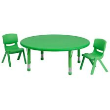 """Flash 45"""" Round Adjust Green Plastic Activity Table Set w/2 School Stack Chairs"""