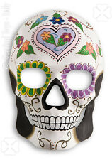 Masque crâne blanc décor squelette mexicain coeur parme plastique épais rigide