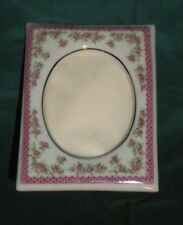 Vintage Lefton China Hand-Painted Floral Picture Frame with Gold Trim