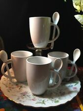 Set of 4 White Coffee Mugs  With 4 Spoons -  Holders In Handles - Made by S. S.