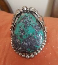 LARGE STERLING SILVER BRACELET WITH BLUE TURQUOISE WITH BASALT
