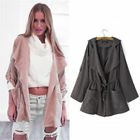 Fashion Women Hooded Long Coat Jacket Trench Parka Outwear Windbreaker