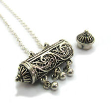 Amulet Case Pendant Charm Chain Necklace Sterling Silver Filigree Handmade