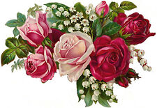 VinTaGe ImaGe ChiC LuSh PinK & ReD RoSeS BouQueT ShaBby WaTerSliDe DeCals