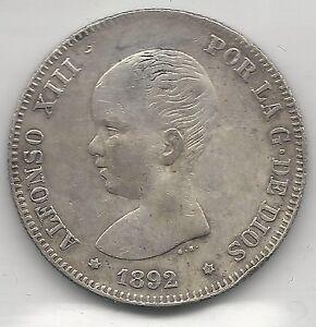 SPAIN,  1892,  2 PESETAS,  SILVER,  KM#692,  EXTRA FINE