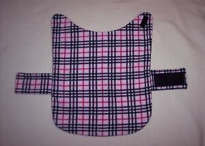 PINK/BLACK/RED PLAID FLEECE SMALL DOG COAT--15-17 LB DOG