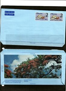 MAURITIUS(A9-21) QE11 PRE-PAID AIR MAIL LETTER STANTIONERY SHELL FISH UMM / MNH