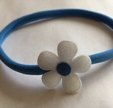 Nylon Skinny Baby Headband Royal Blue Band White Flower With Royal Blue Centre