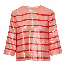 NWT $428 KATE SPADE Stripe Sequin Top Blouse NJMU5631 Pink Red Size 2
