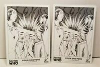 Lot of 2 Doctor Who Four Doctors Promo SKETCH ART TITAN COMICS