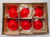 6X DDR Lauscha Vidrio Bola Navidad Vintage Alrededor De 1960/70 Rojo 10 CM