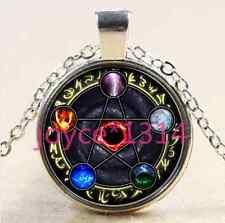 Element Pentagram Cabochon Tibetan silver Glass Chain Pendant Necklace #1930