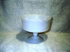 "Vintage White Milk Glass Candy Dish Planter Footed 7"" Scalloped Edge Bowl"